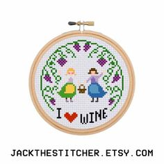 I Love Wine Funny Alcohol Vino Booze Subversive Modern Cross Stitch Template Pattern Instant PDF Download by JackTheStitcher