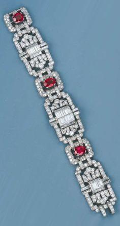 An Art Deco Ruby and Diamond Bracelet Set with three oval-cut rubies, circa with French assay marks. Art Deco Jewelry, High Jewelry, Jewelry Design, Vintage Jewellery, Diamond Are A Girls Best Friend, Bracelet Set, Liberty, Jade, Jewelery