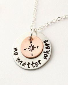 No Matter Where Necklace Hand Stamped Sisters Necklace Best Friends Necklace Mother and Daughter Necklace. Etsy Jewelry, Cute Jewelry, Jewelry Stores, Handmade Jewelry, Handmade Items, Jewelry Art, Jewelry Necklaces, Jewelry Ideas, Gold Jewellery