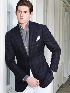 Michael Andrews Bespoke Navy and Brown Fine Plaid Custom Sport Coat Blazer  with Blue and White Large Dot Dress Shirt 9c57065d7
