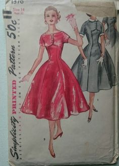 Vintage 1950s Sewing Pattern Simplicity 1376 Princess Seamed Dress B32 Uncut FF