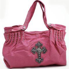 Western Purses Pink Cross Studded Hobo Bag-western hobo bag c9154b2ada706