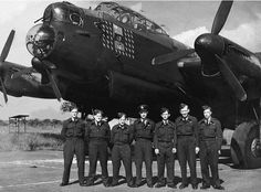 Photo of unidentified Lancaster Bomber No.35 Sqdn and AirCrew, England, World War 2.