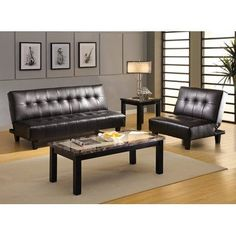 Belmont Leatherette Convertible Sofa and Chair Set by Hokku Designs. $699.43. IDF-2565S-PU / IDF-2565S-PU-CH Breathe new life into your living room with the Belmont Convertible Sofa and Chair Set. Features a modern design with sleek leatherette in dark espresso upholstery, deep seat cushioning will give you comfort days and nights. Features: -Upholstered in dark espresso leatherette. -Solid wood frame construction. -Button-tuft design. -Wrapped foam seat cushioning wi...