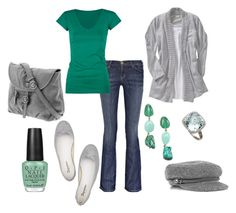 """St. Patrick's Day"" by christygetscrafty ❤ liked on Polyvore featuring Current/Elliott, Old Navy, Jones New York, Brian Danielle, Lucky Brand, Full Tilt, Burberry, Repetto, OPI and green"
