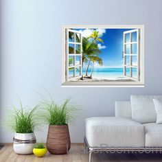 Sunshine Coast Palm Tree Cloud 3D Window View Removable Wall Decals St – IDecoRoom