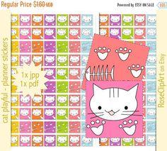 Kawaii Cat - planner stickers Kawaii Stickers, Cat Stickers, Manga Cat, Printable Planner Stickers, Free Printables, Cat Paw Print, Kawaii Cat, Cat Paws, Kitty