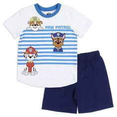 Toddler Boy Outfits, Toddler Boys, Kids Outfits, Nick Jr Paw Patrol, Kids Fashion, Fashion Outfits, Baby Disney, Blue And White, Cotton