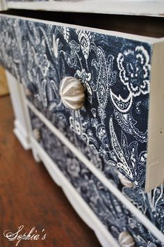Dresser Makeover With Fabric Tutorial - maybe for Lilly and Ruth's furniture when they get older