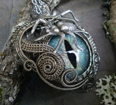 Ohhhhh...a creepy spider crawls across this Gothic Steampunk Eye, gives me the willies, but its so cool!! This Pin can be worn as a pendant and