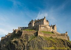 Edinburgh Castle, Castle Rock, Edinburgh, Scotland.  http://www.castlesandmanorhouses.com/photos.htm   Edinburgh Castle is a historic fortress diminating the skyline of the city of Edinburgh. There has been a royal castle on the rock since at least the reign of David I in the 12th century.