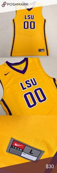LSU - Nike Men's Basketball Jersey  LSU Tigers  Nike basketball jersey   Size Men's Large   Stitched lettering  Mesh backing   New without tags!!   Nike Shirts Tees - Short Sleeve