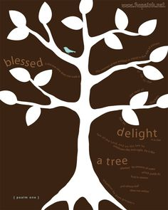 Items similar to Scripture Art Print, Delight, Psalm 1 Tree, Modern Inspirational Bible Verse Artwork on Etsy Scripture Crafts, Bible Verses, Scriptures, Canvas Paper, Paper Art, Canvas Art, Psalm 1, Church Banners, Some Text