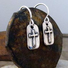 *CROSS Earrings Sterling Silver - Inspirational Faith Religious Earrings - Silver Cross Charm