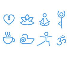 Yoga icons vector art illustration