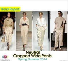 Neutral Cropped Wide Pants #Fashion Trend for Spring Summer 2014  #cropped #spring2014 #trends #pants