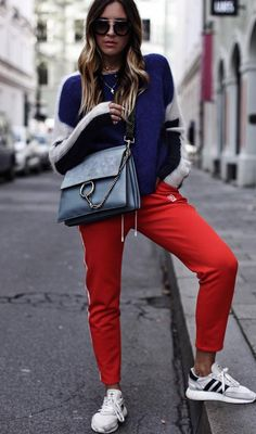 ootd_sweatshirt + bag + red pants + sneakers