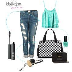 """Kipling Genni Patterned Tote Bag Black/White Lasercut"" by kiplingusa on Polyvore"