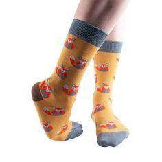 Waiting Fox women's soft bamboo crew socks in gold Silly Socks, Cool Socks, Ankle Socks, Women's Socks, Socks World, Novelty Socks, Bamboo, That Look, Tights