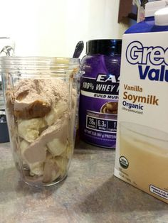 Nutribullet Protein smoothy.... Banana, vanilla soy milk, peanut butter, honey, whey protein....