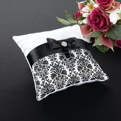 Black Damask Ring Bearer Pillow