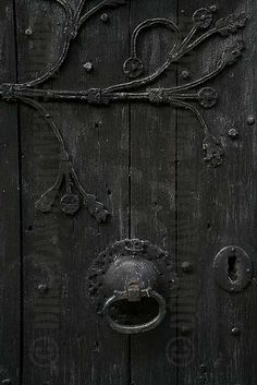 """BLACK - DOOR - WOOD - CLASP - KEY - KEYHOLE - SCREWS - WOOD - TIMBER - MORPETH - NORTHUMBERLAND - GRAIN - CHURCH - DARK  - RUST  - UK 