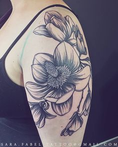 Magnolias Tattoo, Magnolias, Floral, Flowers, Petals, Beautiful, Pretty, Spring, Shoulder, Tattoo, Tattoos, Sara Fabel, Woman Tattooer, Blackwork