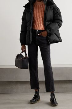 Cropped Jeans Outfit, Cute Casual Outfits, Moncler, Back Home, Casual Looks, Winter Outfits, How To Wear, Jackets, Clothes