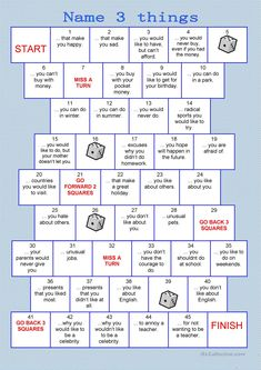 The series board games should be a funny, playful way to practice vocabulary and grammar orally. The instructions for the teachers are included.If you like this game, you can find more board games h English Lessons, Learn English, English Lesson Plans, Esl Lesson Plans, Esl Lessons, English English, French Lessons, Spanish Lessons, Learn French