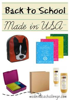 a list of places to shop for backpacks, notebooks, binders, lunch boxes and art supplies made in USA. and nontoxic