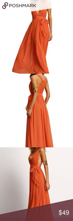 🆕 Orange Deep V Maxi Dress 100% polyester. Brand new, never worn. Dresses Maxi