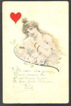 NG045 VIENNE Style QUEEN of HEARTS PLAYING CARDS artist signed 1903