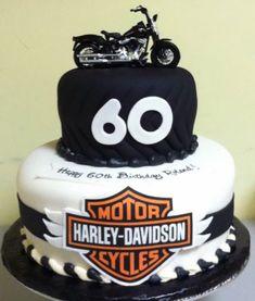 60th Birthday Cake Ideas - Harley Davidson cake #DIY #60th #Biker cake idea