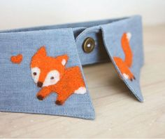 Once upon a time collection fox hedgehog snowman forest blue black white handmade collar - Thumbnail 2