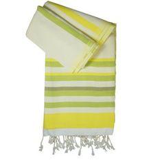 Hamamtuch / Pestemal / Turkish Towel Josie weiß-gelb-grün - zweilagig