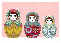 NEW A3 Format Pink nesting doll collage poster print by GreenNest, $25.00