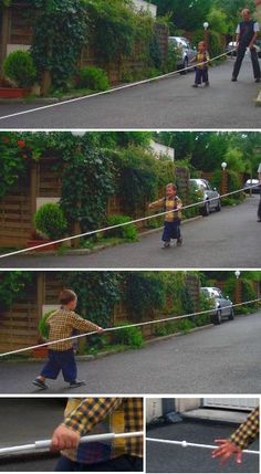 Look carefully at these pictures.  It appears that there is a cardboard tube (found on cleaners' hangers) around the rope so that the child can easily run the length of the rope.  Great idea!