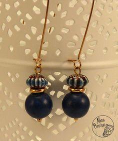 Boucles d'oreilles pendantes, plaqué or, tendance ethnique, perles en lapis…