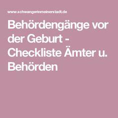 Behördengänge vor der Geburt - Checkliste Ämter u. Behörden