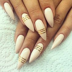 nude_stiletto_nail_gold_strips | Munaluchi Bride