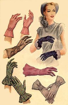 Gloved- beautiful vintage fashion, 1940's 40's 1950's 50's accessories, gloves.