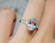 3 Carat Natural Aquamarine Engagement Ring, Diamonds, 14K White Gold. $795.00, via Etsy.