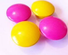 Yellow and Hot Pink Dresser Knobs for Girl's Room   $2.50 each at The Little Nursery