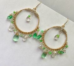 Gold Hoop Earrings Green Gemstone Beaded by DoolittleJewelry, $255.00