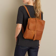 Lifetime Leather Convertible Messenger Bag switches from shoulder bag to backpack. Either way, the oiled leather will gain character with age.