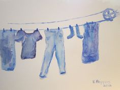 Blue Clothesline  Original watercolor painting matted by RPeppers, $50.00