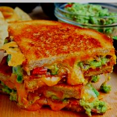 Bacon Guacamole Grilled Cheese Sandwich - Made these and it was delish! I have to have a gourmet grilled cheese sandwich party one of these days! Think Food, I Love Food, Food For Thought, Good Food, Yummy Food, Tasty, Healthy Food, Healthy Eating, Healthy Recipes
