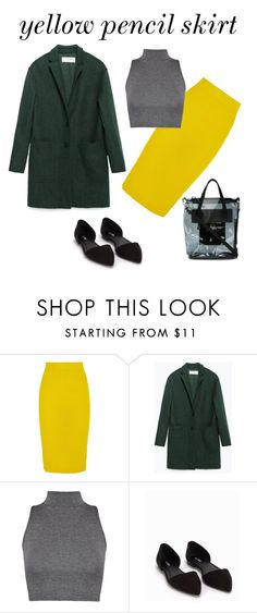 """yellow pencil skirt"" by paulina2597 ❤ liked on Polyvore featuring J.Crew, Zara, WearAll, Nly Shoes and Eytys"