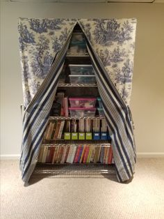 Wire shelf slip cover....great way to hide the clutter with left over fabric!!!