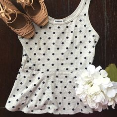 Polka dot peplum top! 95% cotton. 5% spandex. Super soft! Great condition Express Tops Tank Tops